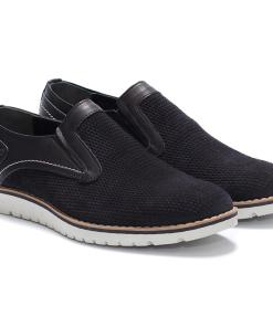Pantofi barbati din piele naturala Nick fara siret Negru