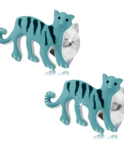 Cercei cu şurub, argint 925, tigru albastru deschis cu dungi negre