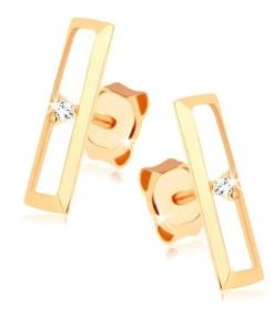 Cercei cu şurub din aur 375 - contur dreptunghiular lucios, zirconiu transparent