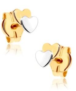 Cercei cu şurub din aur 9K - două inimi mici, în două culori