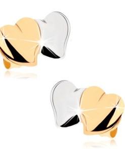 Cercei cu şurub din aur 9K - inimi lucioase convexe, în două culori
