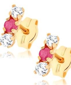 Cercei cu şurub din aur galben 9K - zirconii transparente, rubin roşu
