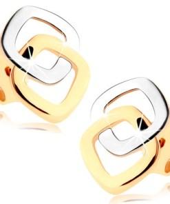 Cercei cu șurub realizați din aur de 9K- contururi pătrate, rotunjite în două nuanțe
