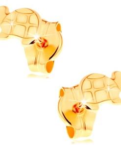 Cercei de aur 585 - ţestoasă lucioasă cu detalii gravate