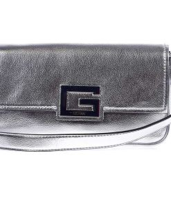 GUESS Baguette bag with metallic finish Silver