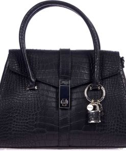 GUESS Hand bag with reptile finish Black