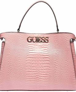 GUESS Lacquered shoulder bag in reptile look Rose