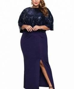 Rochie lunga de seara bleumarin cu capa din paiete