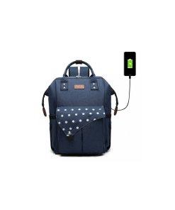 Rucsac pentru mamici, cu mufa USB, bluemarin cu buline mari