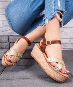 Sandale cu platforma dama aurii cu maro Verida