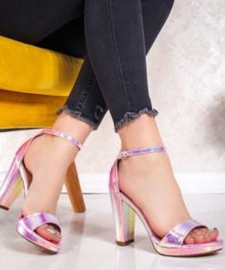 Sandale dama cu toc roz Furasia
