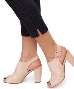 Sandale dama Voila cu toc gros Bej