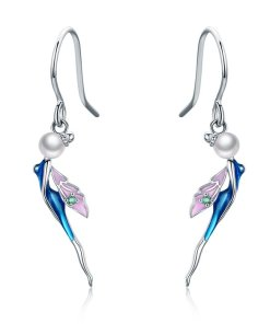 Cercei din argint Lovely Blue Fairy
