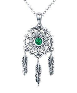 Colier din argint 925 Dream Catcher green