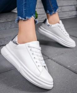 Pantofi dama sport albi cu argintiu Merfia