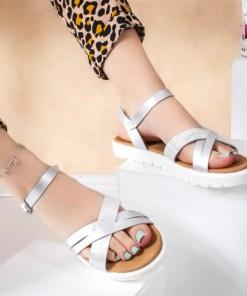 Sandale cu talpa joasa dama argintii Ottile