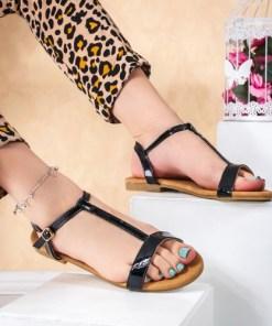 Sandale dama cu talpa joasa negre Duprisa