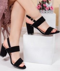 Sandale dama cu toc negre Perilida