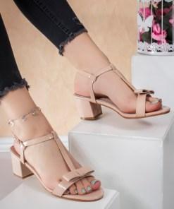 Sandale dama cu toc roz Moluna