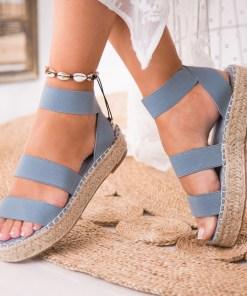 Sandale Dama fara Toc Piele Ecologica Albastre Lilac B7960