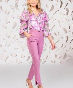 Pantaloni PrettyGirl roz deschis eleganti cu un croi drept cu talie medie cu buzunare