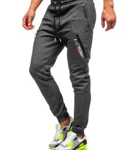 Pantaloni de trening grafit-alb barbati Bolf Q1041