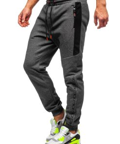 Pantaloni de trening grafit-portocaliu barbati Bolf Q1040