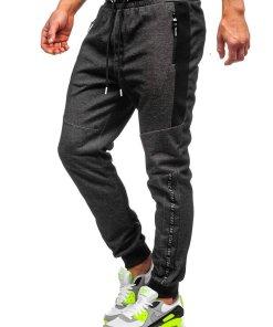 Pantaloni de trening negru-alb barbati Bolf Q1040