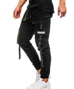 Pantaloni cargo negri barbati Bolf KA1911