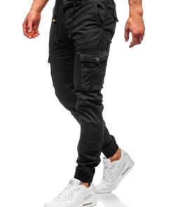 Pantaloni cargo joggers negri barbati Bolf CT6703