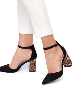 Pantofi dama Chandra cu imprimeu piele de leopard pe toc Negru