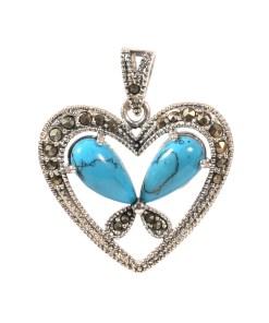 Pandantiv Heart din argint cu turcoaze