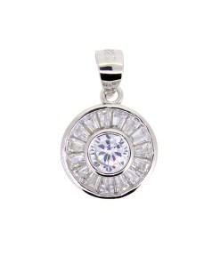 Pandantiv rotund cu zirconiu alb, din argint rodiat 925