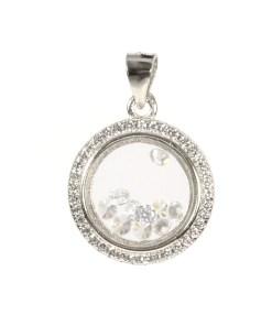 Pandantiv rotund din argint cu zirconii