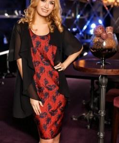 Rochie rosie cu blazer eleganta