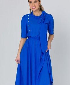 Rochie LaDonna albastra cu nasturi si funda la guler