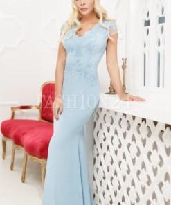 Rochie lunga azure cu broderie din dantela