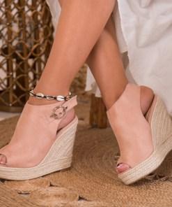 Sandale cu Platforma Piele Ecologica Intoarsa Roz Lilith B8680