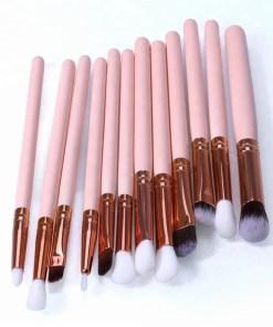 Set 12 pensule machiaj ochi din peri sintetici si peri naturali de inalta calitate