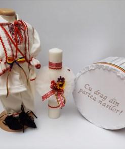 Set Traditional Botez - Costumas baietel Cutie pentru trusou Lumanare