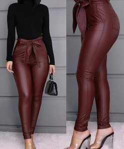Pantaloni Piele Si Curea Teri Rosi