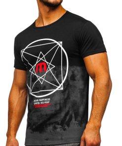 Tricou negru cu imprimeu Bolf 10887