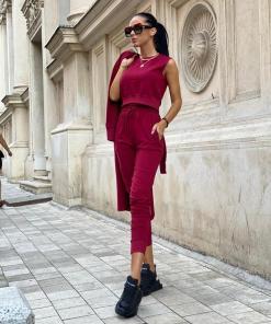 Compleu dama ieftin visiniu compus din pantaloni lungi + maieu + cardigan lung