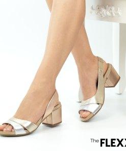 Sandale dama The Flexx din piele naturala Hilda rose gold silver