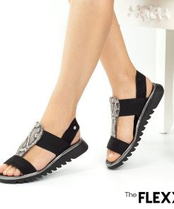 Sandale dama The Flexx din piele naturala Wave On negru