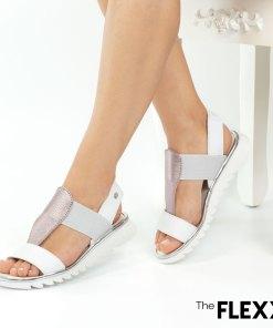 Sandale dama The Flexx din piele naturala Wave On alb