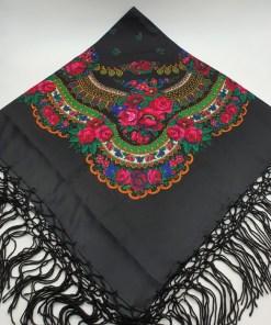 Batic etno mare - Imprimeu floral panza Neagra