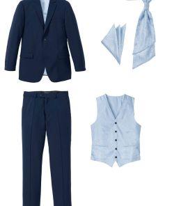 Costum bărbați (5piese): sacou, pantaloni, vestă, plastron, batistă buzunar - albastru