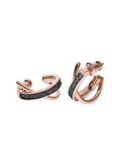 Cercei rotunzi placati cu aur roz si decorati cu cristale 2428383