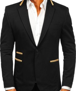 Sacou elegant negru bărbați Bolf 9400